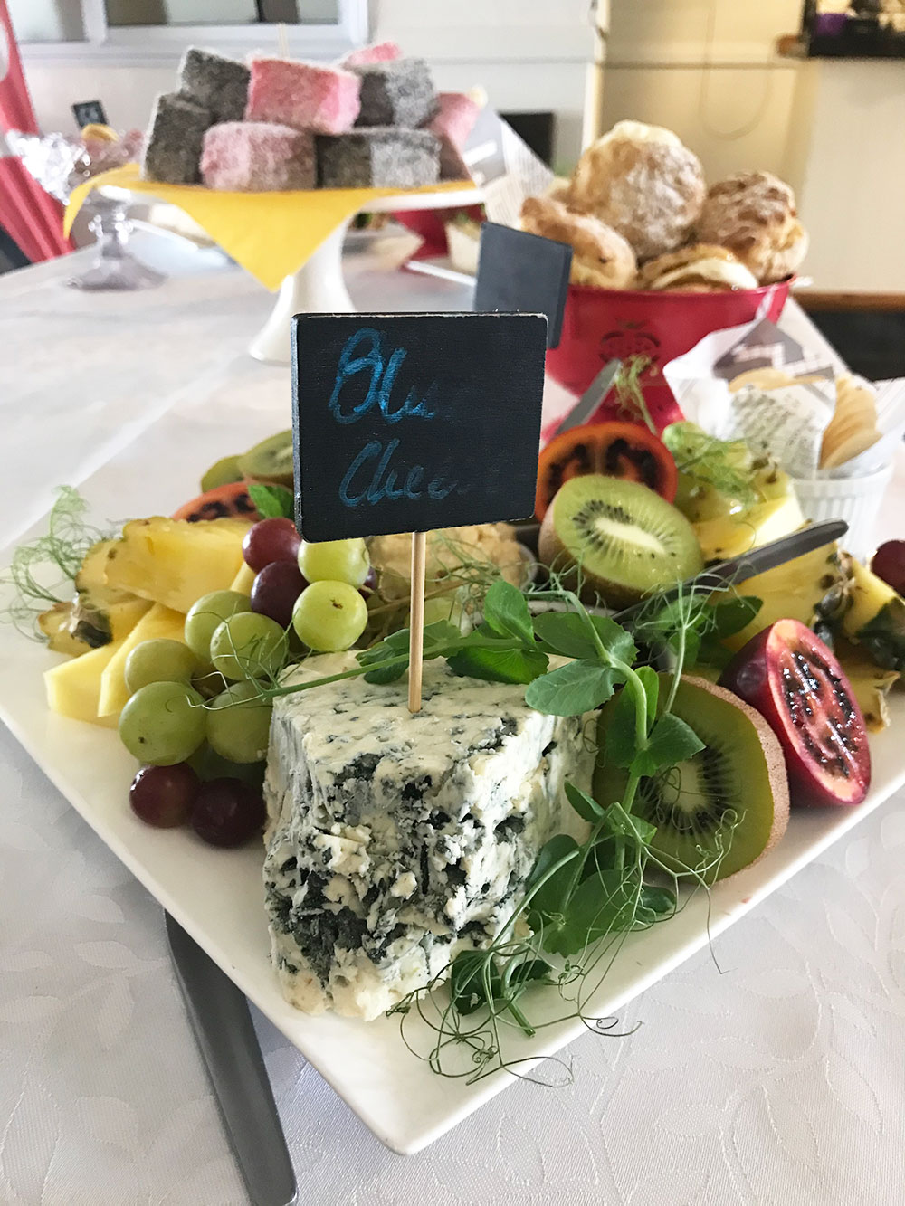 Yummy fruit and cheese platter at Dawsons Hotel Reefton